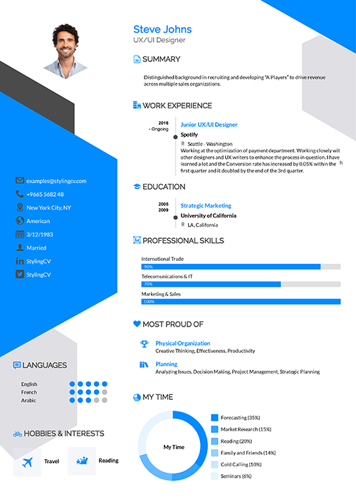 A colorful CV template that gives a creative twist to your job application. The structure and content is clear and allows for high readability.