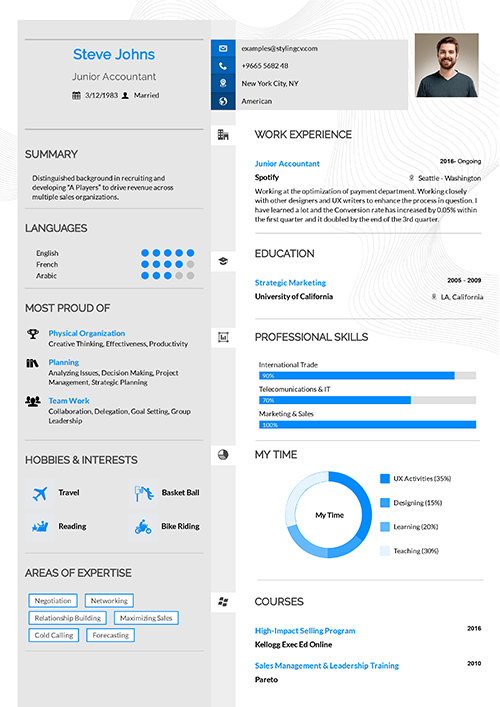 A two columns design with a clear separation for this CV template. Clear content with a dynamic structure as this template evenly balanced.