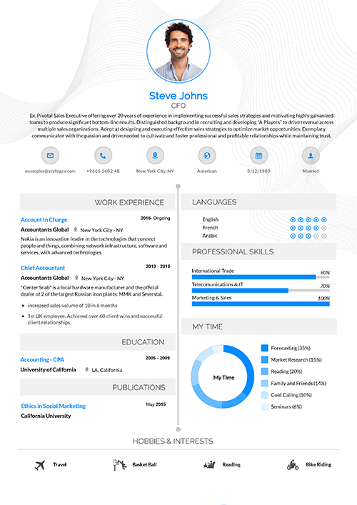 Two Sided CV template that conveys minimal design and elegance. This professional CV template is great for educational positions.