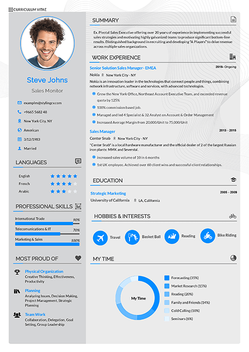 The Vegan CV template is a typical layout. Perfect for the reverse chronological CV structure, this layout is easy to read and beautiful CV.