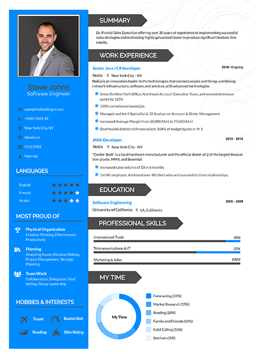 A CV template with clear headings for the section. This CV is great for people with a very diverse set of skills. A must have for the students.