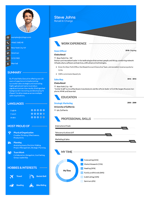 A bright and colorful CV template. Be seen by the recruiters instantly with a diverse list of colors.