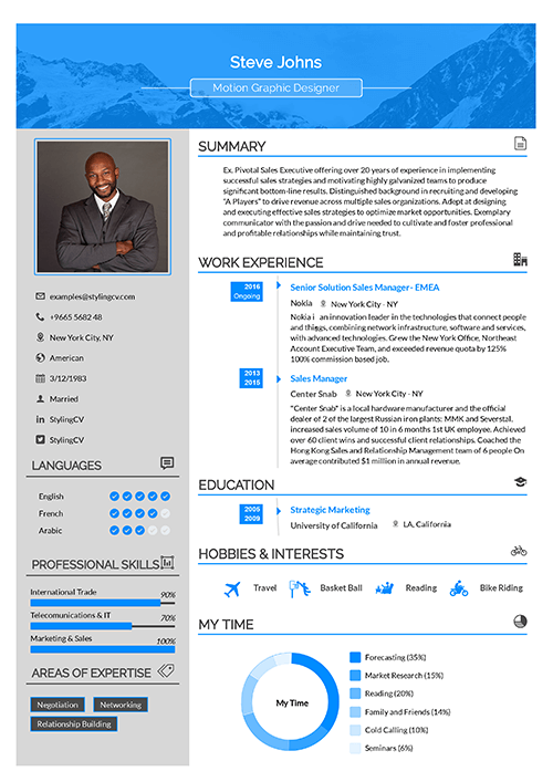 A colored sidebar design that shows this professional CV template is great for engineers and skilled workers.