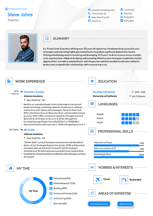Stylish as the name suggests. This CV template is both clear to read and visually appealing. is great for IT and computer services.