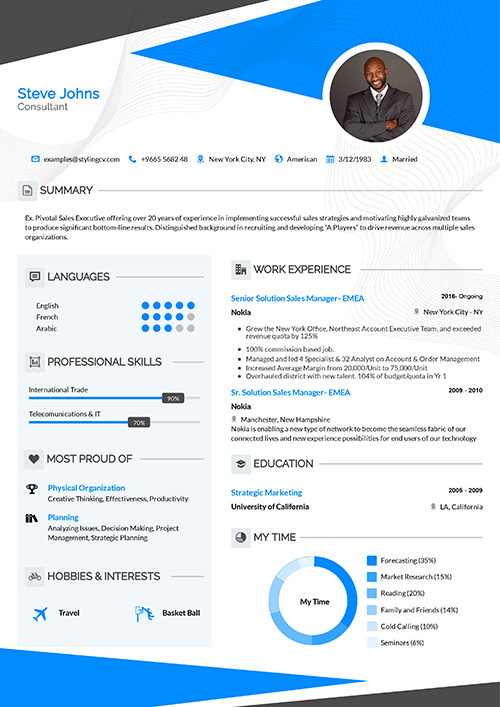The pointy header with it's strong colors are a dominant show for your CV. Your skills have a great place on the left in this CV template.