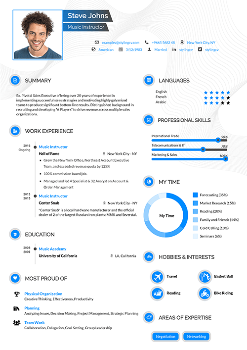 A minimal design for teachers and educators. Clear inforghraphics that showcases your skills with clarity in your CV.