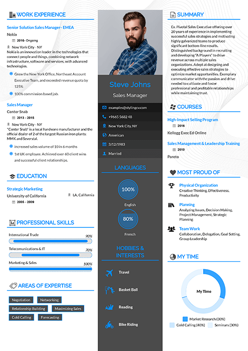 The middle bar with its strong colors allow your CV to stand out from the rest. If you have a strong set of skills and good educational background then this CV template is for you.