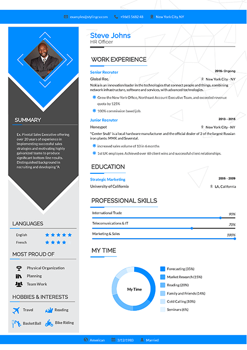A colorful left sidebar creates a perfect separation. If you have reached a senior level then this senior CV template is for you.