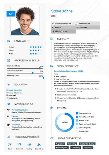 A beautifully designed CV for the medical CV template. A readable formate that is clear and and minimal.
