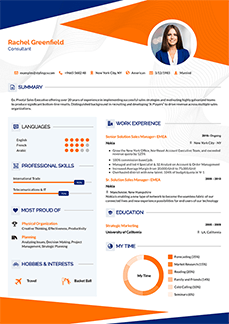 Female profesional Resume Template