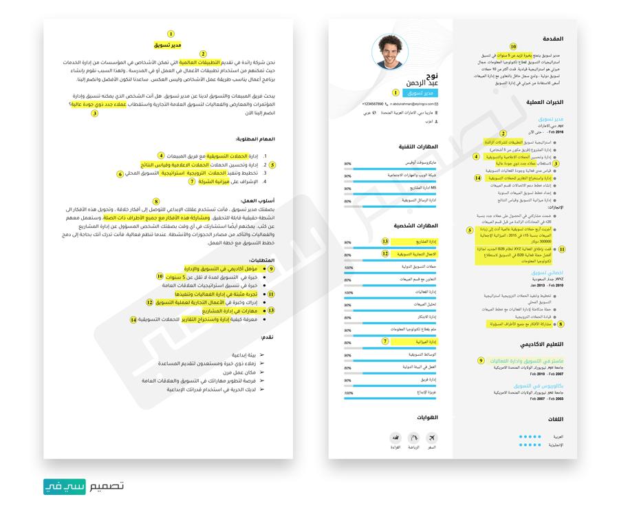 أفصل سيرة ذاتية باللغة العربية و الإنجليزية