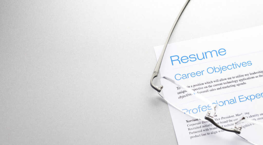 web page header resume objective with glasses